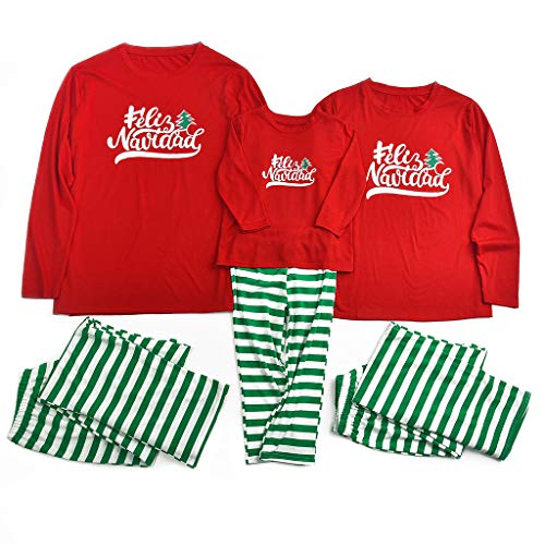 Holeider Weihnachten Schlafanzug Familie Fun-Nachtwäsche Damen Herren Kinder Pyjamas Set Weihnachts Nachthemd Langarm Tops + Hosen Streifen Weihnachtskostüm für Mutter Vater Kind