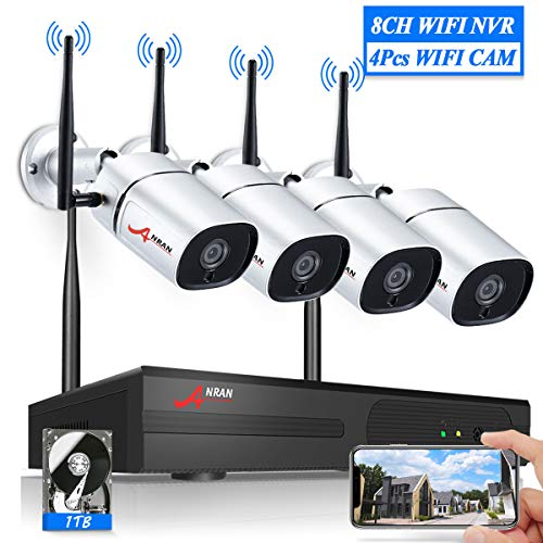 8CH Wireless Home Outdoor Security Camera System WiFi NVR Kits,ANRAN 4Pcs 2MP Wireless Surveillance Night Vision Bullet Waterproof Cameras,Smart Plug in Play CCTV System,Email Alert, 1TB Hard Drive