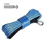 DEDC Cuerda de Cable de Cabrestante Sintética de 1/4 Pulgadas x 50 pies, Cable de Cabrestante Azul con Funda para Cabrestantes de ATV UTV SUV Camión Barco Ramsey
