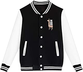 Unisex Youth Baseball Uniform Jacket, Retro Peruvian Peru Llama Coat Sweatshirt Outwear