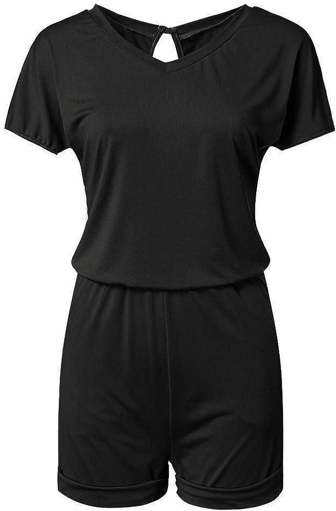 2019 Women's Baggy Rompers Summer Casual Short Sleeve V Neck Elastic High Waist Beach Shorts Jumpsuit Mini Playsuit