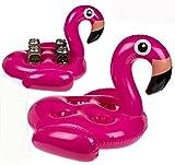 Bada Bing XL Getränkedosenhalter Flamingo Aufblasbar Für 4 Dosen Schwimmtiere Garten Pool Deko 64