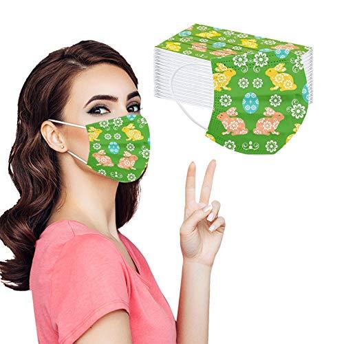 Pañuelo protector transpirable para adultos con estampado de huevos de conejo de Pascua de tres capas