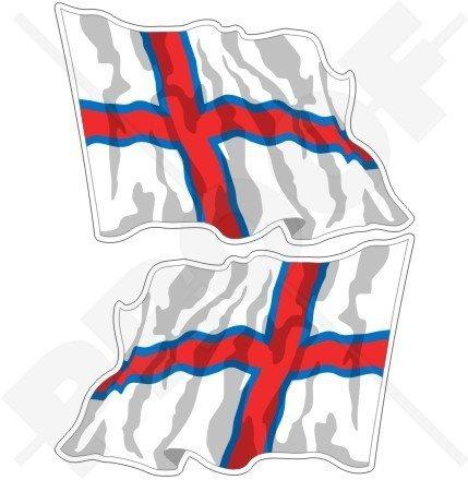 FÄRE INSELN Färöische Wehende Flagge, FAROES Färöer 75mm Auto & Motorrad Aufkleber, x2 Vinyl Stickers (Links - Rechts)
