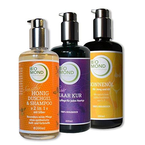 Set BIO Sonnenöl Sunoil BIOMOND 200 ml/Haarkur 200 ml/Honig Duschgel 200ml Naturkosmetik frische Pflanzenöle ohne Mineralöl