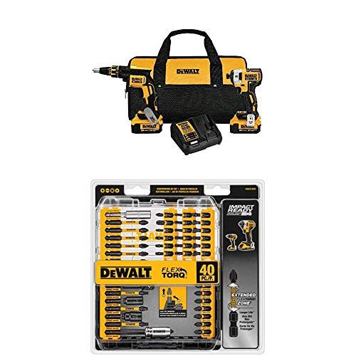 DEWALT DCK267M2 20V MAX XR Drywall Screwgun & Impact Driver Kit with DEWALT DWA2T40IR IMPACT READY FlexTorq Screw Driving Set, 40-Piece