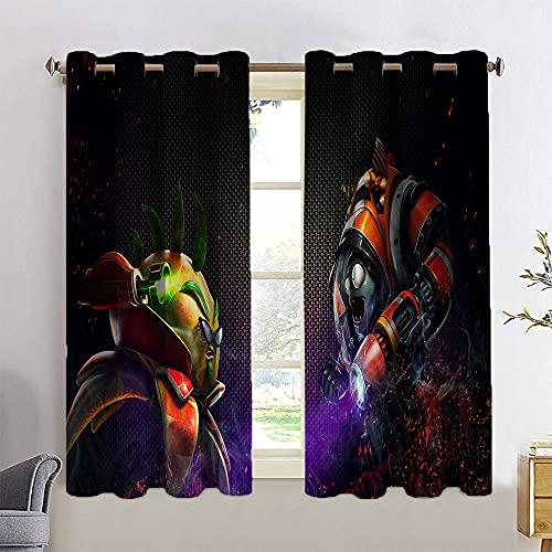 Trelemek Pl-ants Vs Zom-bies - Cortinas extralargas para dormitorio, 2 luces del sol, filtrado por aire natural a través de 63 x 72 cm