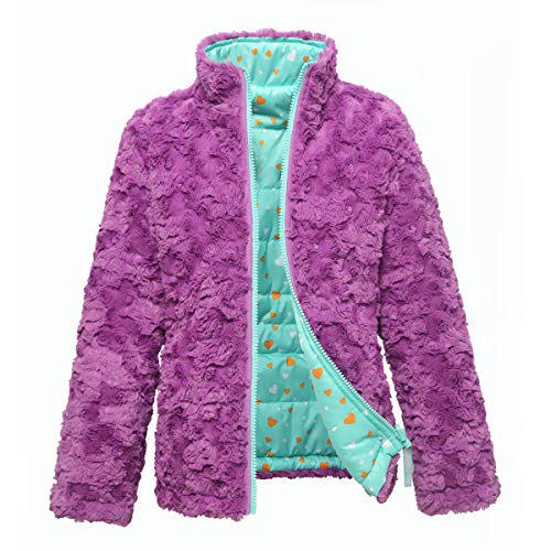 Girls' Lightweight Water Resistant Poly Insulated Quilted Coat Cozy Faux Fur Reversible Puffer Jacket