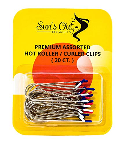 Sun's Out Beauty Premium Replacement Assorted Hot Roller Clips - Curler Clips - Regular Set (20 Count) - Fits Most Small to Medium Size Rollers - Curlers