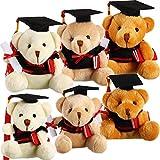 6 Pieces Plush Graduation Bears in 3 Graduation Stuffed Animal Teddy Bear in Black Cap for Kindergarten Elementary High School College Graduation Party