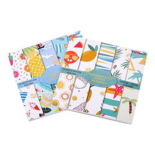 ewtshop Papel con diseño de palmeras (48 hojas en formato 30,5 x 30,5 cm, 24 diseños diferentes, impreso por ambos lados, papel decorativo para manualidades