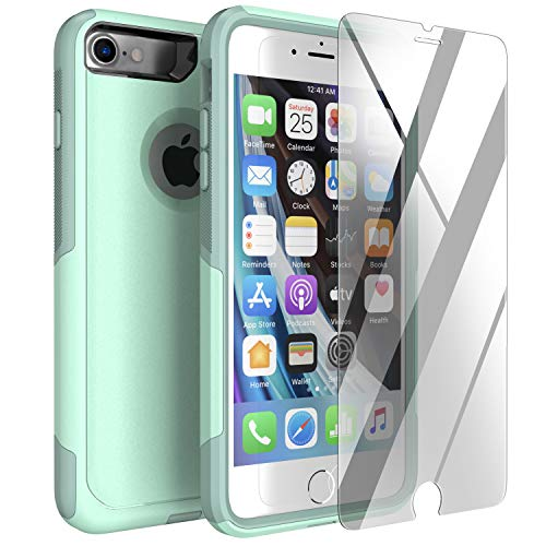 Legfes Phone Case Compatible with iPhone 7/8/SE – with [Tempered Glass Screen Protector]–Durable and Sturdy Dual Layer Protection Cover Cases–Anti-Scratch Raised Edges(SE 2020 Does not Show Logo)