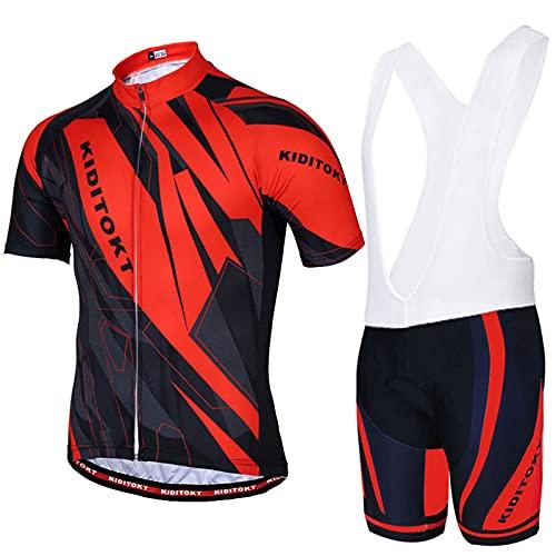 AdirMi Completo Ciclismo Uomini, Set Abbigliamento Antiscivolo Elastico Ciclismo Traspirante Maglia Manica Corta con Zip + Salopette 3D Imbottito Completo Bici per Ciclista Estate,A,XS