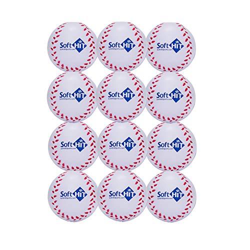 Soft Hit Soft Baseball/Softball Training Foam Ball (12 Pack, White)