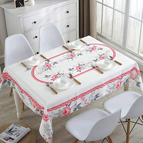 Rectangle Tablecloth Checkered Style Polyester Table Cloth Spillproof Dust-Proof Wrinkle Resistant Heavy Weight Table Cover for Kitchen Dinning Tabletop