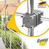 Support parasol balcon Sunnyguy – Protection solaire flexible dans un espace réduit – Support de fixation parasol pour les manches de Ø 28 à 45mm – Pied de parasol Made in Germany