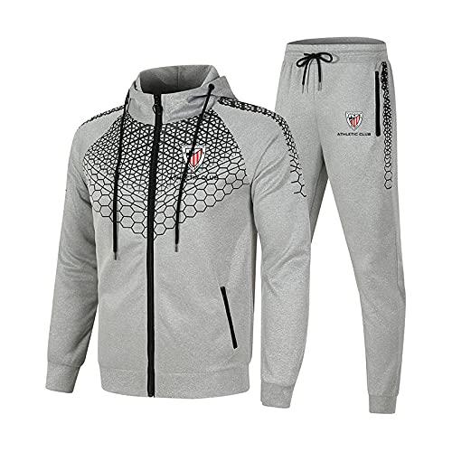 MQJUNZE Conjunto de chándal para hombre y mujer Traje de jogging Athletic-Bilbao Suéter con capucha a rayas de 2 piezas + Pantalones traje deportivo Completo/gray/XL