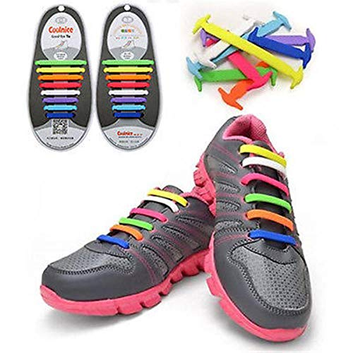 12Pc/Set Fashion Unisex Women Men Athletic Running No Tie Shoelaces Elastic Silicone Shoe Lace All Sneakers Fit Strap No tie,red