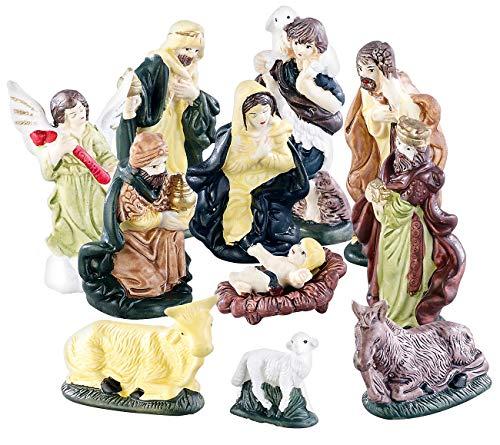 Britesta Krippenfiguren: 11-teiliges Weihnachtskrippen-Figuren-Set aus Porzellan, handbemalt (Krippefiguren)