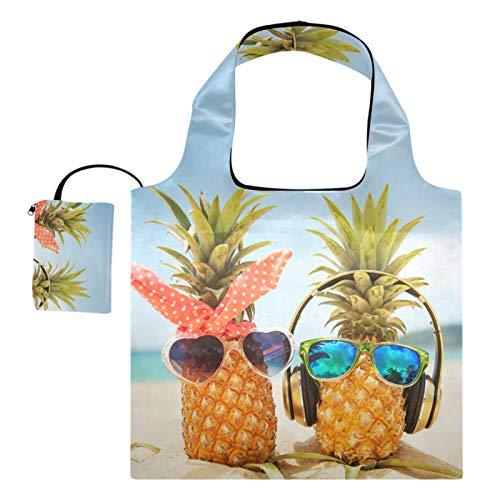 Bolsas de compras reutilizables – Piñas Love On The Sand Bolsa plegable grande con bolsa