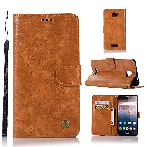 JARNING Kompatibel mit Alcatel One Touch Pop 4S Hülle SchutzHülle Prämie PU Leder Flip Hülle Tasche Stoßsichere LederHülle mit Magnetverschluss Kartenfach -Golden