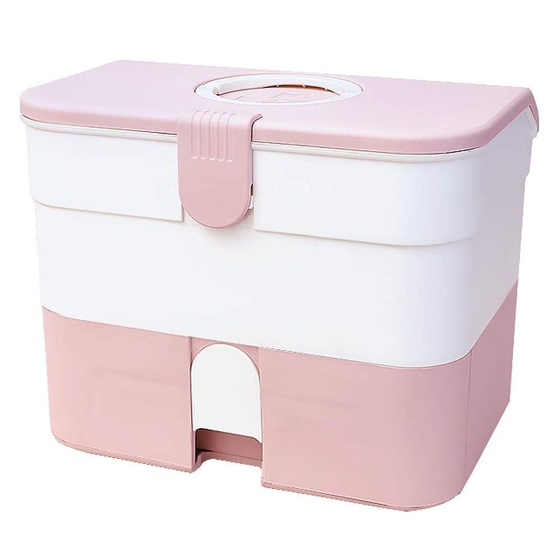 年入射交通渋滞救急キット旅行 応急処置ボックス、ドラッグ収納ボックス医療ボックスポータブル大容量ダブル、薬箱家庭用薬収納ボックス (Color : Pink)