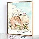 DIY Pintura por Números Kits,Lienzo de Color,Dos Juegos de Pintura,Pájaro elefante Pintura al óleo Digital,Decoración del Manualidades Regalo - 40x50cm(Marco de madera)