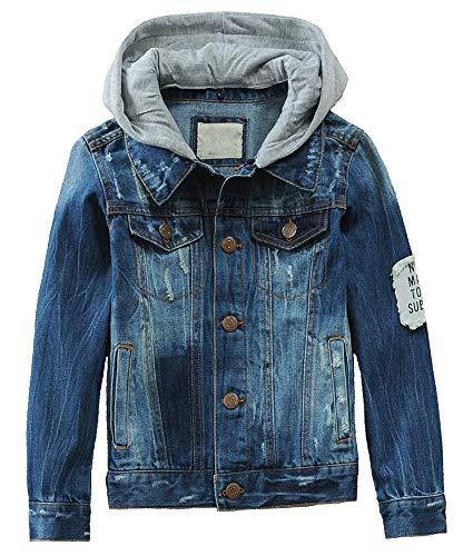 LISUEYNE Big Boys Distressed Denim Trucker Jacket Ripped Hoodie Jean Outerwear