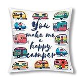 BEDKKJY Funny You Make Me Happy Camper Cita inspiradora con decoración de caravanas Retro Fundas de cojín Decorativas, Protector de Funda de Almohada con Cremallera, 18x18 Pulgadas