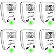 WILDJUE Ultrasonic Pest Repeller Pest Control [6-Pack] Spider repellent, Electronic Plug In Pest Repeller- Repels Mice, Roaches,Spiders,Other Insects,Non-toxic Environment-friendly, Humans & Pets Safe