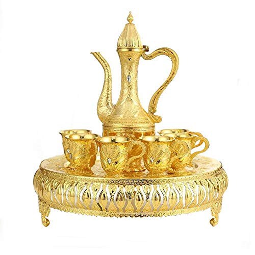 Ziv-01 Vintage Turkish Coffee Pot Set for 6 including Tray & Teapot Silver Inset with Crystal Stones