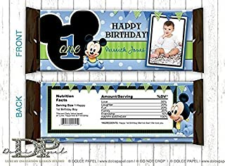 10 BABY MICKEY MOUSE 1st Birthday Party Black & Blue Polka Dot Large Hershey's Candy Bar Wrappers