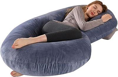Pregnancy Pillow C Shaped, Full Body Maternity Pillow with Zipper Removable Velvet Cover, Full Body Pillow for Pregnant Women Sleeping, Grey,150*75cm