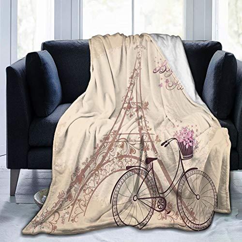 PANILUR Manta de Franela Suave,Bonjour Paris Torre Eiffel y Bicicleta Vintage con Flores Retro Color Suave,Cama de Camping para sofá 204x153cm