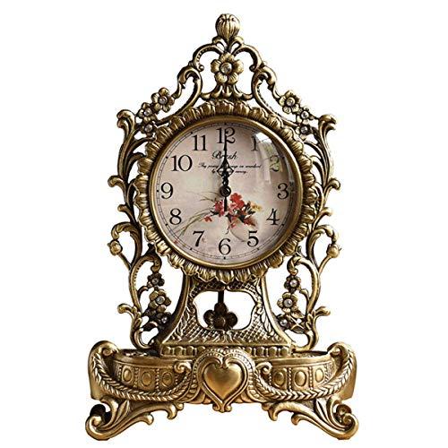 ZJZ Péndulo de Cuarzo, Metal, Cobre, Relojes de repisa, Reloj de Mesa de Escritorio mecánico, Adornos Antiguos, Reloj silencioso de pie, Estante, 41 * 27 cm