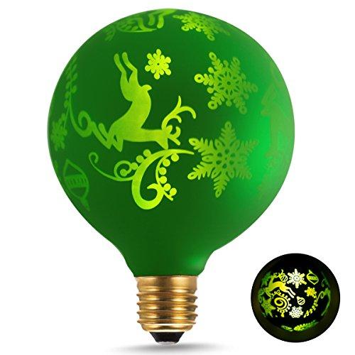 DORESshop LEDエジソン 装飾電球ビンテージ クリスマス飾リ ガラス ランプ G95 E26 2700K暖かい光 1.4W 一般電球15W形相当 休日ライト 家庭照明器具 ヴィンテージスタイル クリスマスの鹿パターン100ルーメン 全方向広配光タイプ 調光器具非対応 PSE認証済み 1個セット