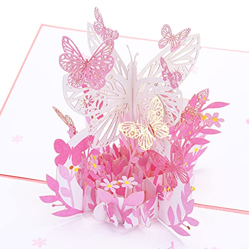3D Pop Up Card,Pop Up Greeting Cards, CHICTIE Butterfly Flower Basket 3D Greeting Cards for Mom,...