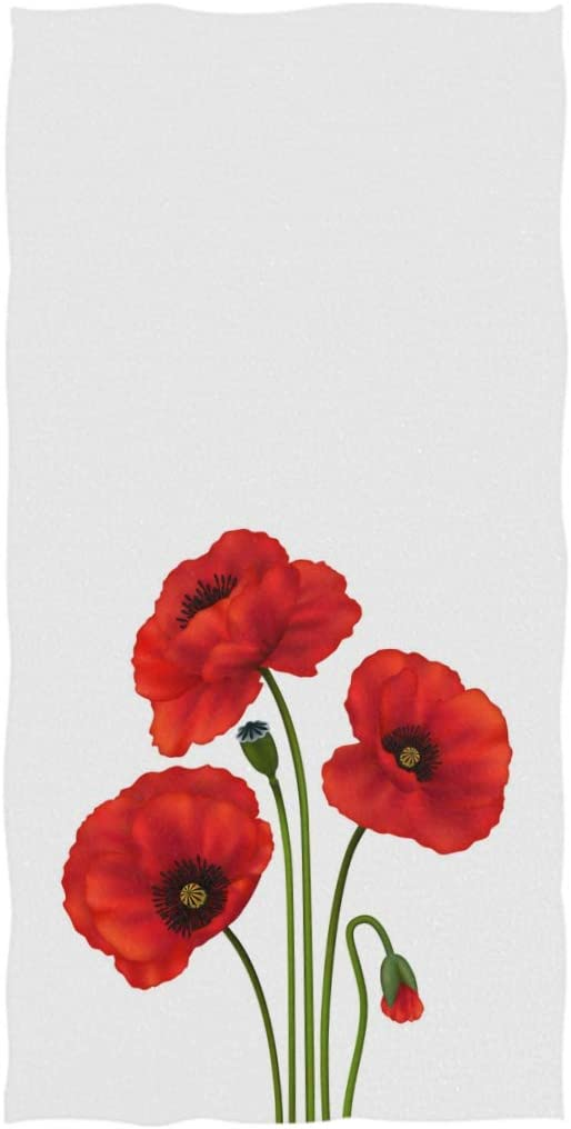100% quality warranty! ZzWwR Beautiful Fashion Three Elegant Red Highl Poppy Soft Flowers Print