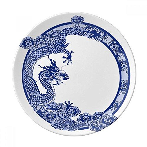 chinois Culture Dragon Bleu décoratifs en porcelaine Assiette à dessert 20,3cm dîner Maison Cadeau