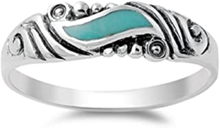 Vintage Style Turquoise Stone Ring 925 Sterling Silver Turquoise Ring Choose Your Style