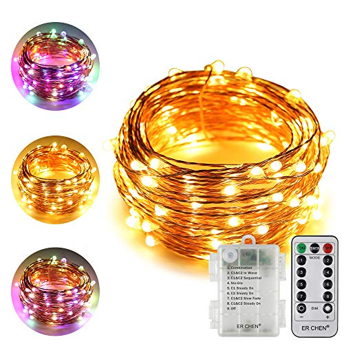 ErChen Battery Powered Dual-Color Led String Lights, 33FT 100 LEDs Color Changing Dimmable 8 Modes Copper Wire Fairy Lights with Remote Timer for Indoor Outdoor Christmas (Warm White, Multicolor)