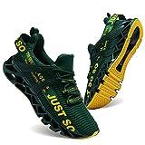 JSLEAP Laufschuhe Herren Sportschuhe Straßenlaufschuhe Sneaker Joggingschuhe Turnschuhe Walkingschuhe Traillauf Fitness Schuhe (2-Dunkelgrün,42 EU)