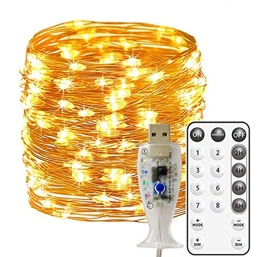 Fairy Lights 66ft/20M 200 LED USB Operated Waterproof Copper Wire String Lights 8 Modes Remote and 2/4/6/8Hour Timer for Party, Bedroom, Wedding, Indoor/Outdoor (Warm White)