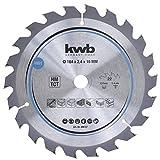 kwb 586157 Span-Platten Kreissäge-Blatt, Holz-/Hartholz, 184 x 16 mm, saubere Schnitte, mittlere Zahl, 22 Zähne Z-22, CleanCut Sägeblatt mittel, 184 x 16