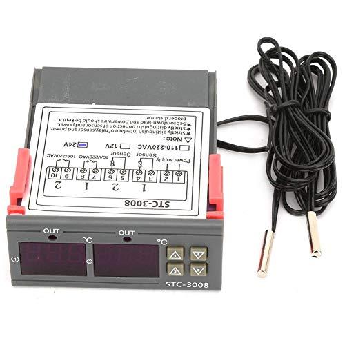 Temperatur Thermostat Controller, STC-3008 Digital Dual Display Dual NTC-Sonde Sensor für Bauernhof Verschiedene Kühlschrank Gewächshaus Aquarium(24V)