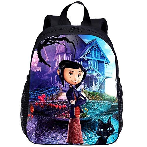 Coraline & The Secret Door - Mochila escolar para niños, 13 pulgadas, diseño de dibujos animados CoralinYLa Puerta Secreta, muy duradera, N09 (Negro) - FDHG02415