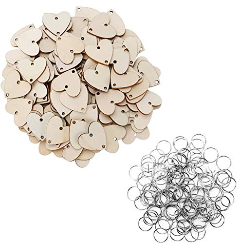 PEPAXON Rebanadas de madera de corazón piezas de madera sin terminar, recordatorio, carteles de calendario, placas, llaveros de bricolaje, suministros para manualidades, 100 piezas