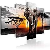 Wild Elephants Animals Landscape Painting Prints on Canvas 5 Panels African Grasslands Wall Art Framed for Living Room Decor