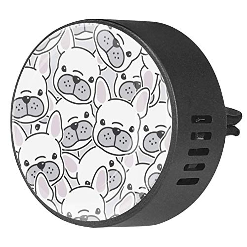 2 Pack Office Home Car Air Freshener French Bulldog Puppy Face Dog Head Aromatherapy Essential Oil Diffuser Locket Clip