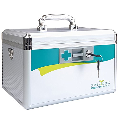Medical Box with Lock, LIVSTON First Aid Box Emergency Medicine Case Child Proof Medication Cabinet Protable Drugs Storage Box